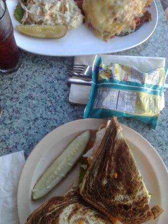 Ugly Mug: Turkey Sandwich on the bottom, Rueben on the top