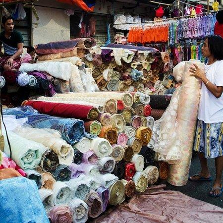 Street Vendors Selling Textiles In Ylaya St San Nicolas