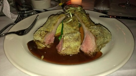 The Woods Restaurant: Herb crusted Lamb chops with mint jelly.   Man was that wonderful.