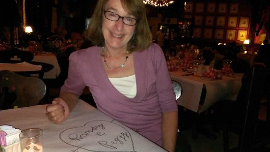 The Woods Restaurant: Could write on the table.   That was fun.