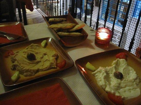 Palouki Restaurant : Tzatziki, pitta & humous
