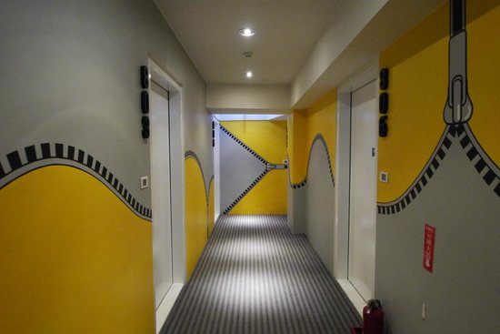The Icon Hotel: The corridor- each floor is different