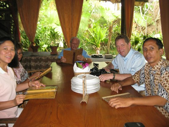 enjoying lunch with Rene Van Gant and his family