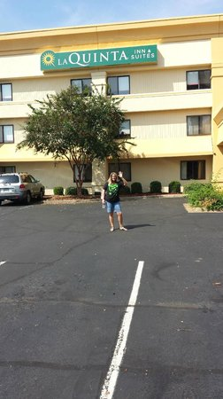 SureStay Hotel by Best Western Montgomery : My wife in front of the hotel
