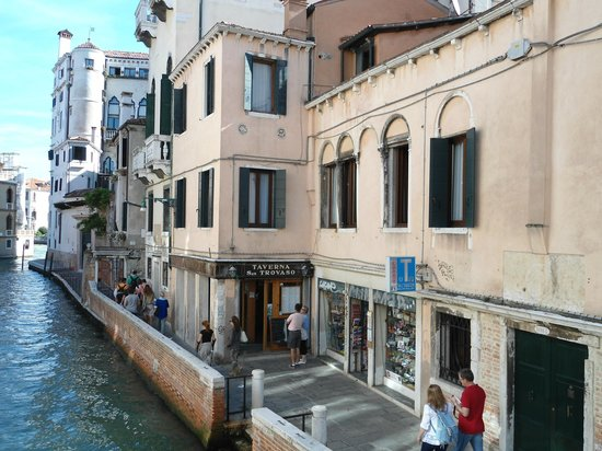 Palazzo Guardi: View of room 2 floors above taverna from nearby canal bridge