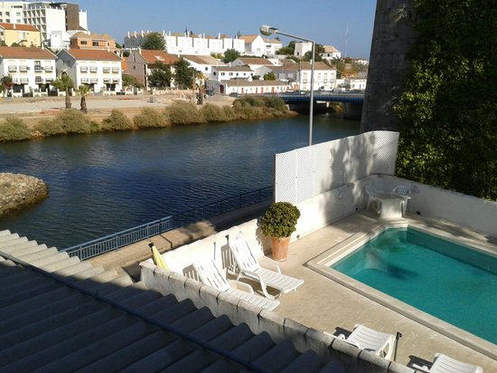 Tavira Inn: View of river and pool edge from balcony