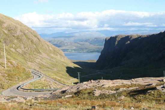 Applecross, UK: looking back down the mountain