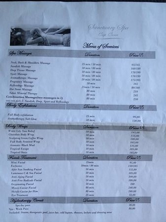 Sanctuary Cap Cana by Playa Hotels & Resorts : spa menu page 1