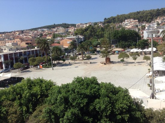 Aenos Hotel: View of square from the suite.