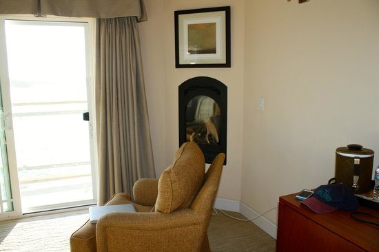 Anderson Inn: Cozy chair by the balcony (plus a fireplace)