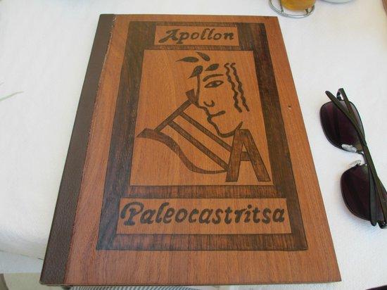 Apollon Restaurant: Wooden menu!