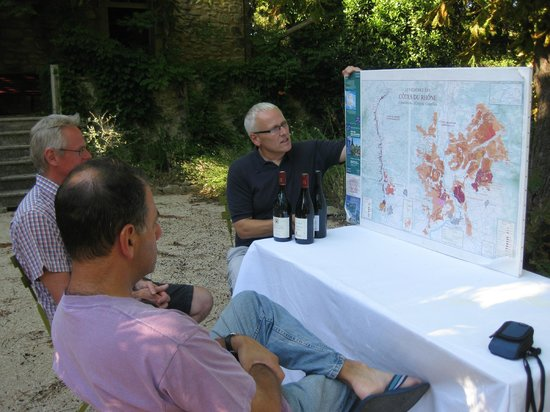 La Madelene : Philip beginning our tour with a talk about Rhone wine
