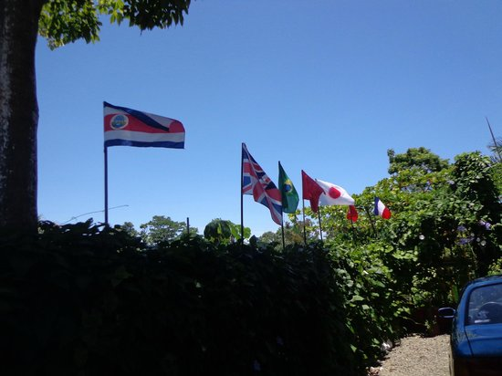 Hotel Manuel Antonio: Flags in the maind entrace