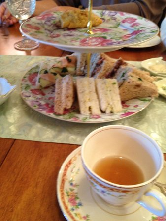 Tudor Rose English Tea Room: We were so hungry, we couldn't wait to take the picture until the food was partially gone!