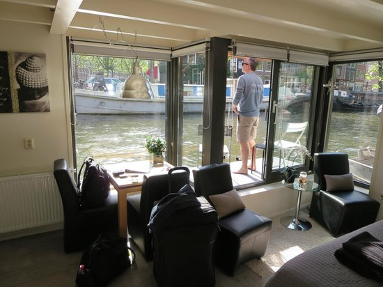 The Guest-Houseboat: Looking out on the canal