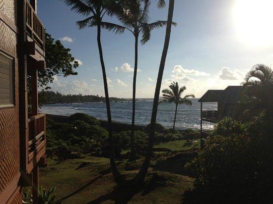 Bamboo Inn on Hana Bay: View of the beach & sunset from bamboo Inn