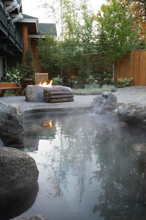 The Cove, an Authentic McCall Spa : The outdoor immersion pool and garden