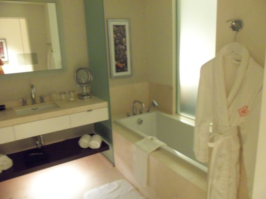 Hotel Arista at CityGate Centre: Part of the bathroom
