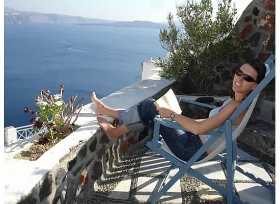 Lava Oia's: My happy place - on the veranda overlooking the Caldera