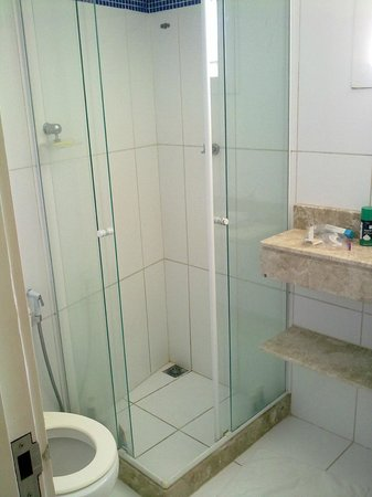 Passeio das Palmeiras Apartamentos: baño y ducha pequeña