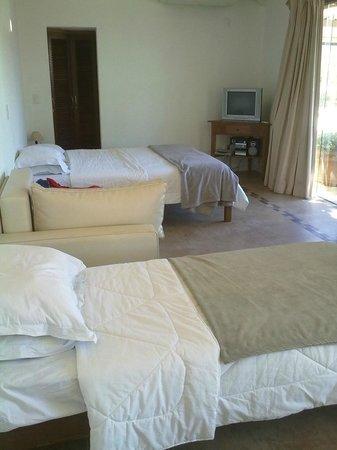 Passeio das Palmeiras Apartamentos: se ven las 2 camas y un sillon cama