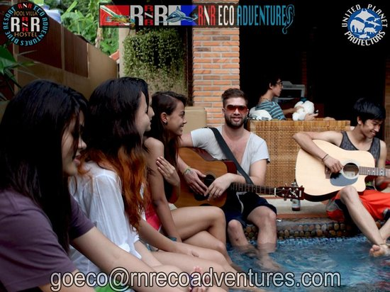 RNR Eco Adventures Pool Villa Resort & Hostel: Poolside Music Jam