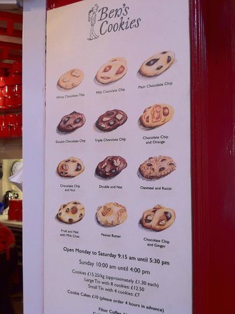 Ben's Cookies: The menu