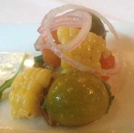 Splendido at the Chateau: Olathe sweet corn, heirloom tomatoes and red onion amuse
