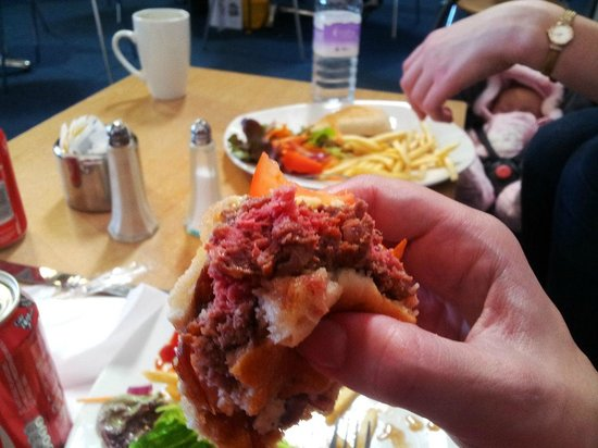 Elgin, UK: Raw burger at Playbarn