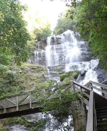 Base of the Falls Trail: Beautiful Amicalola Falls from the bridge