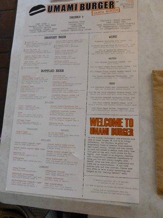Umami Burger: carte boissons