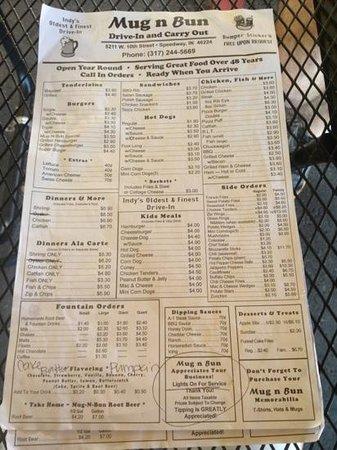 Mug-n-Bun Drive-In Restaurant : menu