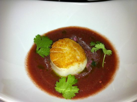 AG: Cilantro & cucumber gazpacho w/ seared scallop & pickled watermelon salad from 'Field to Fork' m