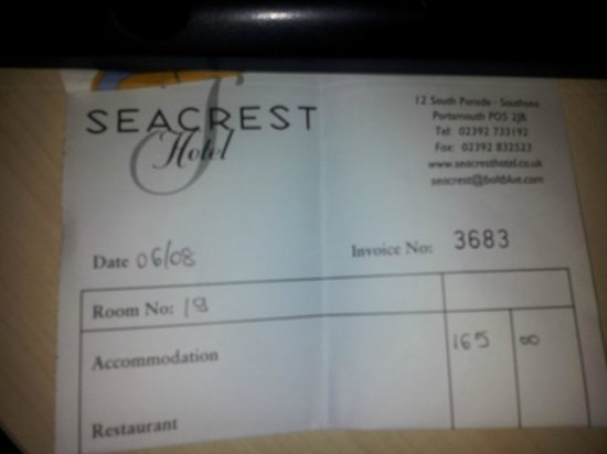 Seacrest Hotel: Look at that Dexterdog37 - I did stay here.. and they even got the month wrong in the date!