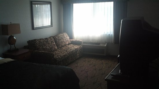 Shilo Inn Suites - Newberg : The room- funny it looks nicer with the soft light than it did in person
