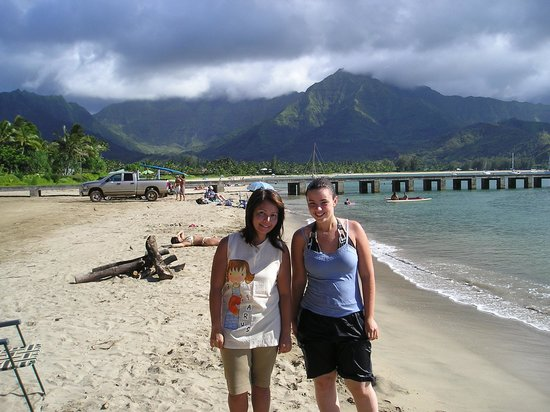 St. Regis Princeville Resort: My wife and niece in front of the Hanalei Pier.