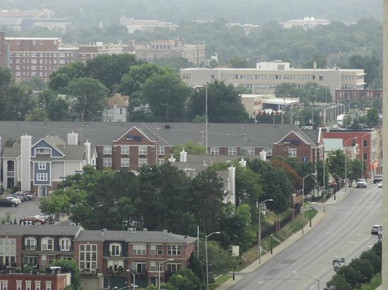 Fairfield Inn Kansas City Downtown/Union Hill: A view of the hotel from on top of the WWI Monument