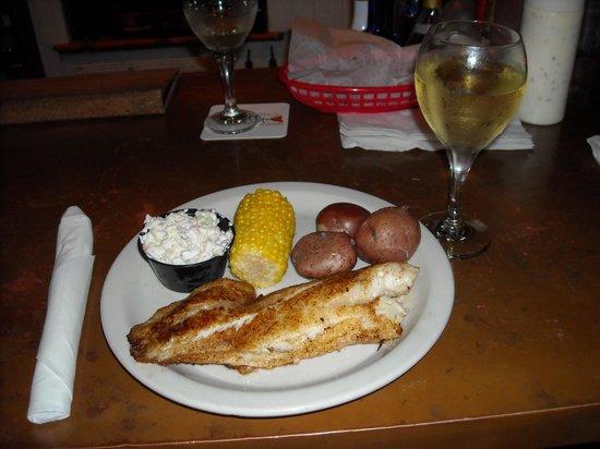 Dewey Destin Seafood: Bronzed grouper with new potatoes, corn & cole slaw