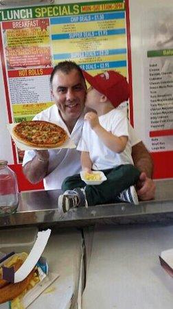 Pizza Amore: stefano and ma boy joseph yummy pizza:)