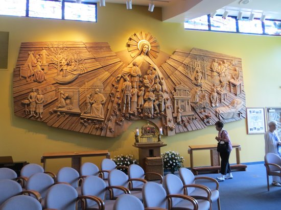 Darien, IL: carving depicting saint's life