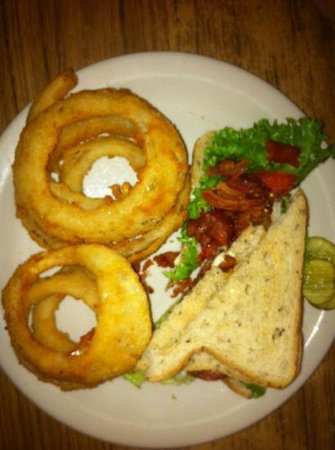 ‪‪Dixie Grill & Steer Room‬: BLT on rye toast with hand battered onion rings‬