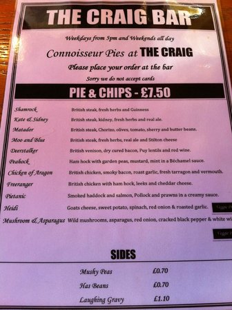 The Craig Bar: The menu