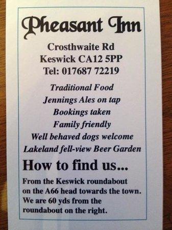 Contact the Pheasant Inn