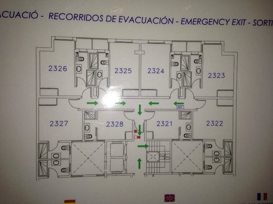 Hotel Auto Hogar: plan of the second building, avoid room 2321 it's very small