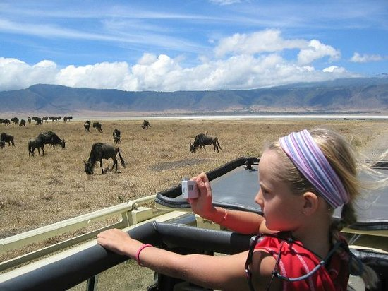 Ngorongoro Crater: my kids enjoyed the view from the open rooftop