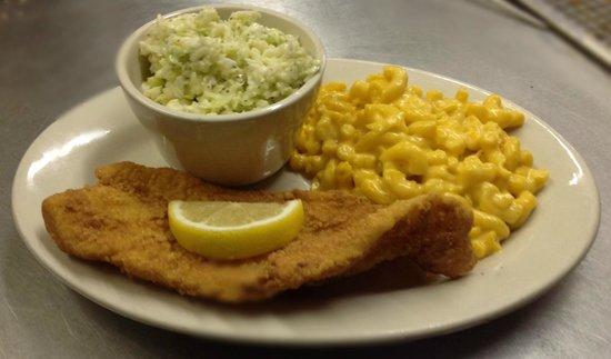 Eatz: fried catfish, cole slaw, and mac& cheese