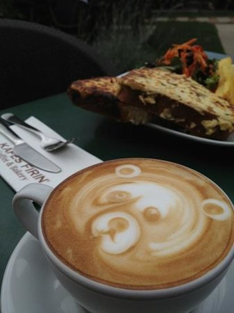 Kafes Firin: be kind to staff and you get a Teddy Bear cappuccino:)