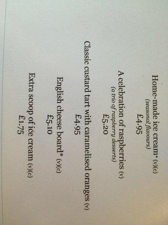 Clink Cardiff: menu