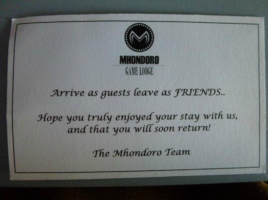 Mhondoro Game Lodge: So true