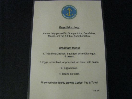 Anchor House Dublin : Breakfast menu a scelta